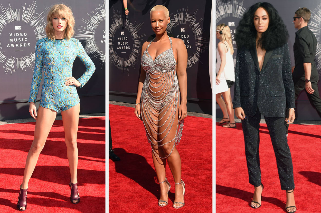 Taylor wears a short printed romper, Amber wears a see-through dress made of chains, Solange wears a sequin suit with an oversized blazer