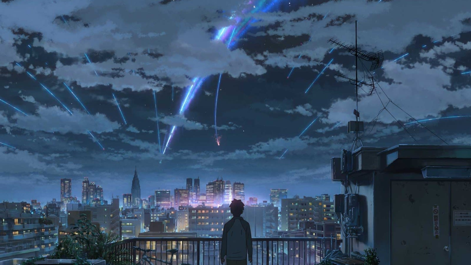A character standing on a rooftop and watching shooting stars in the night sky