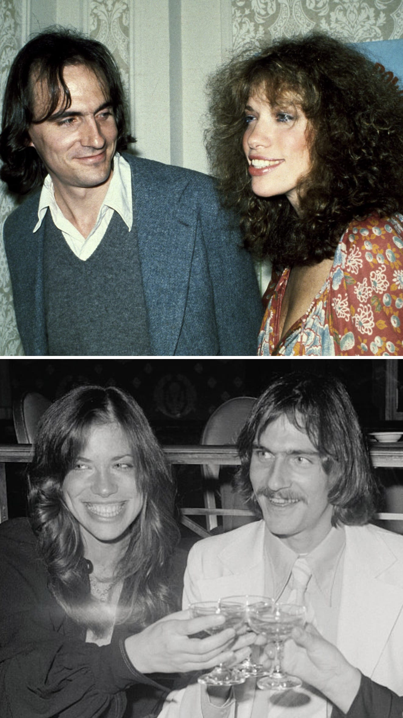 Simon and Taylor in New York City in 1979; Simon and Taylor drinking champagne at an event in 1973