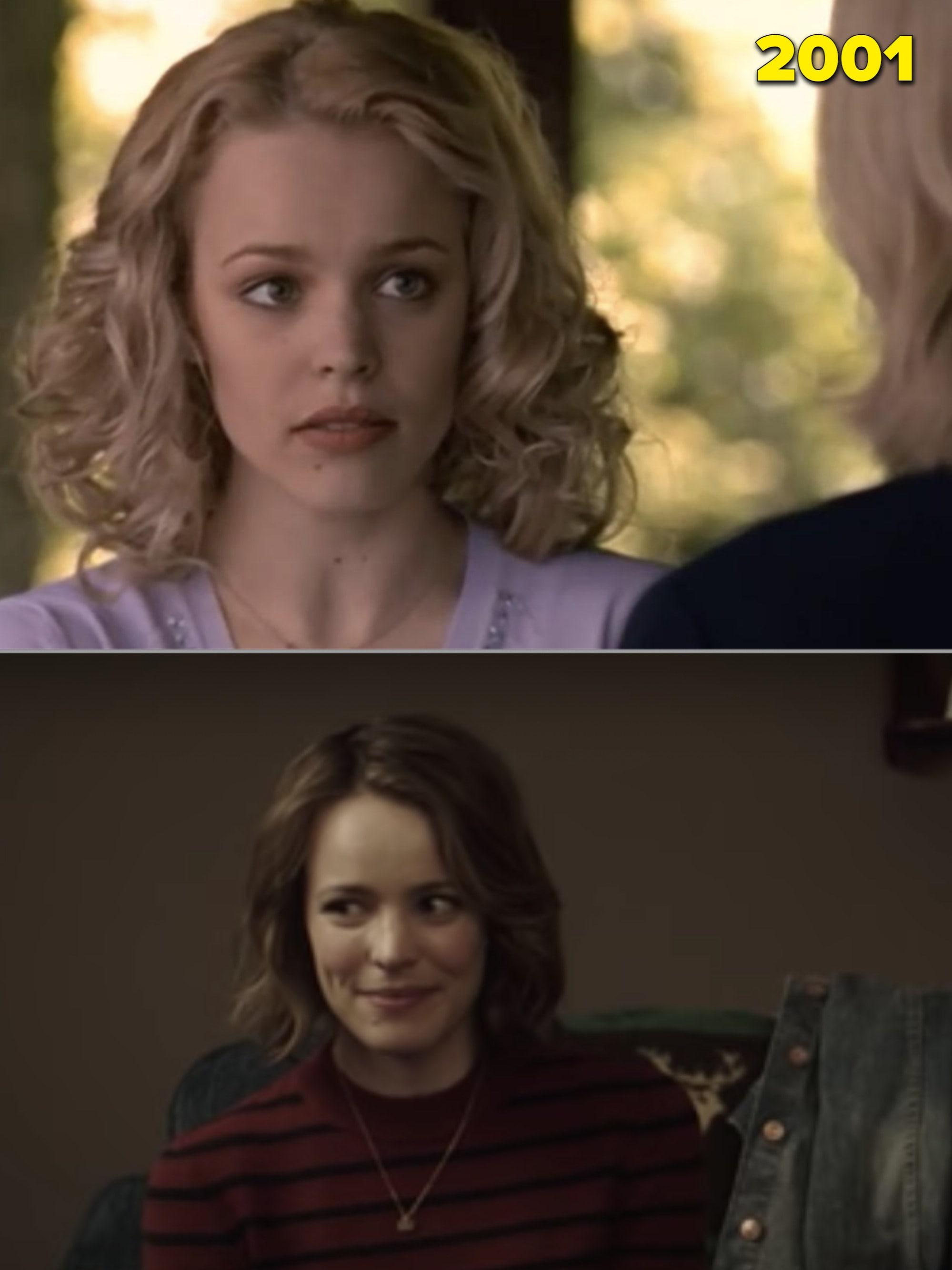 """Rachel com cabelo loiro encaracolado em 2001 e em """"A Noite do Jogo"""""""