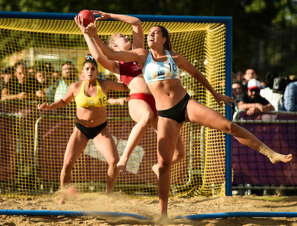 Zoe Turnes of Argentina fights for the ball with Vanja Perencevic of Croatia in the Women's Gold Medal Match during day 7 of Buenos Aires 2018 Youth Olympic Games