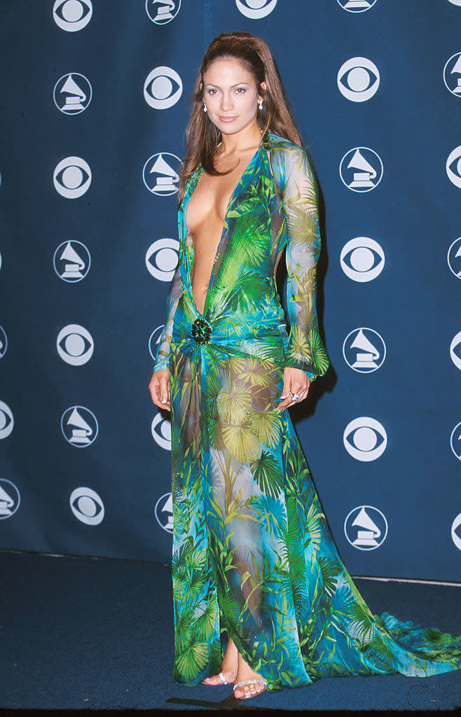 Lopez wearing the iconic low-cut green gown