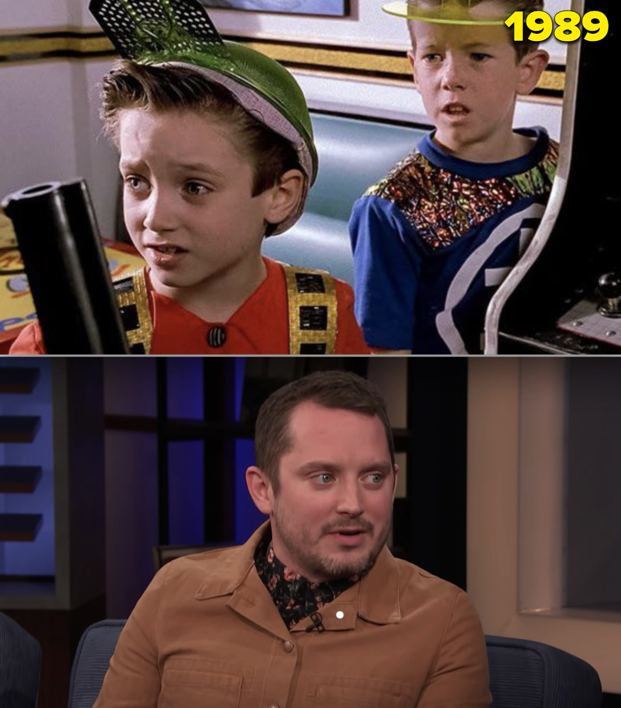 """Elijah Wood as a kid in """"Back to the Future Part II"""" vs. him being interviewed by Conan O'Brien in 2020"""