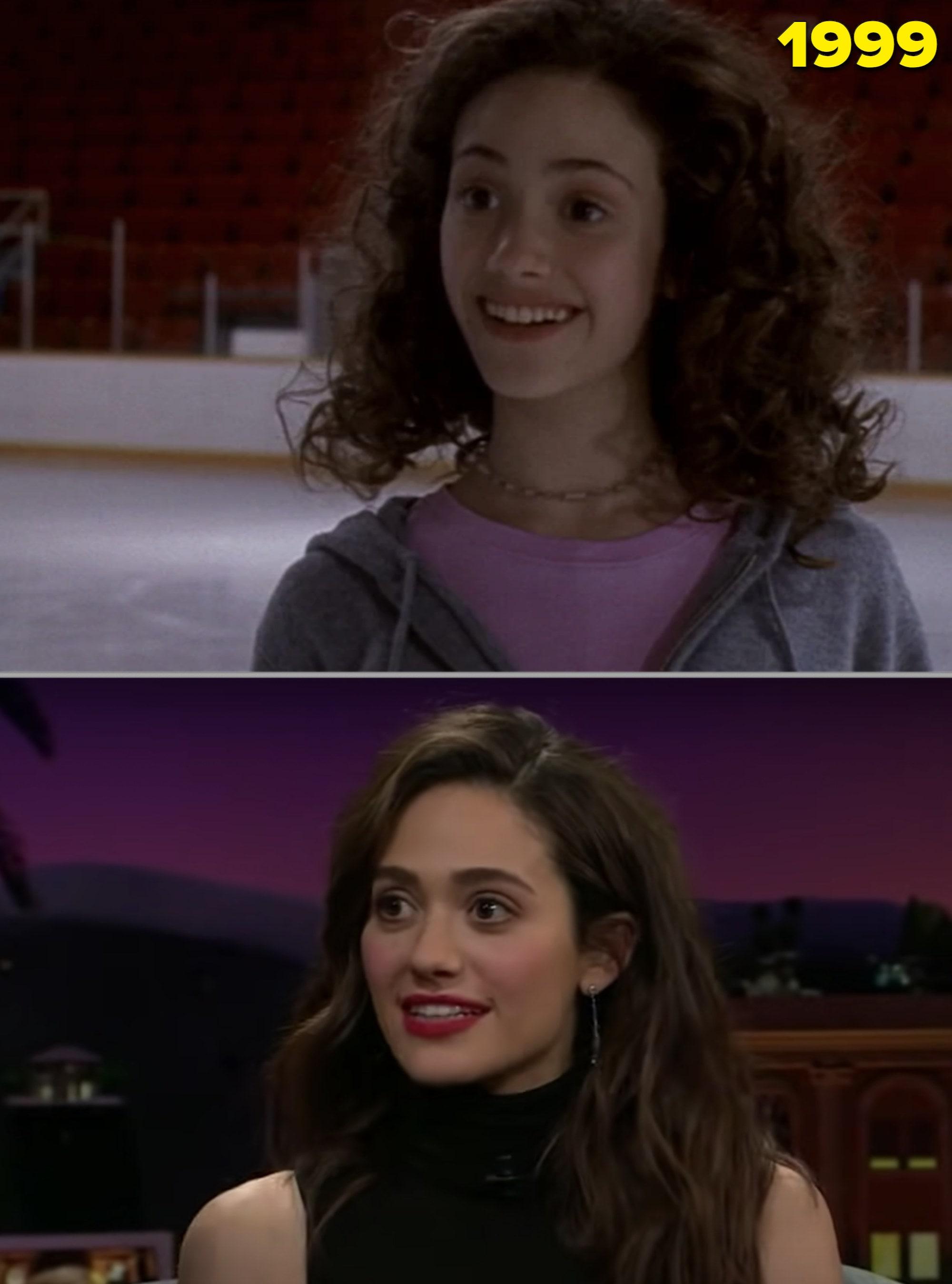 """Emmy em """"Gênio - Desafiando a Gravidade e o Amor"""" no fim dos anos 90 e adulta numa entrevista"""