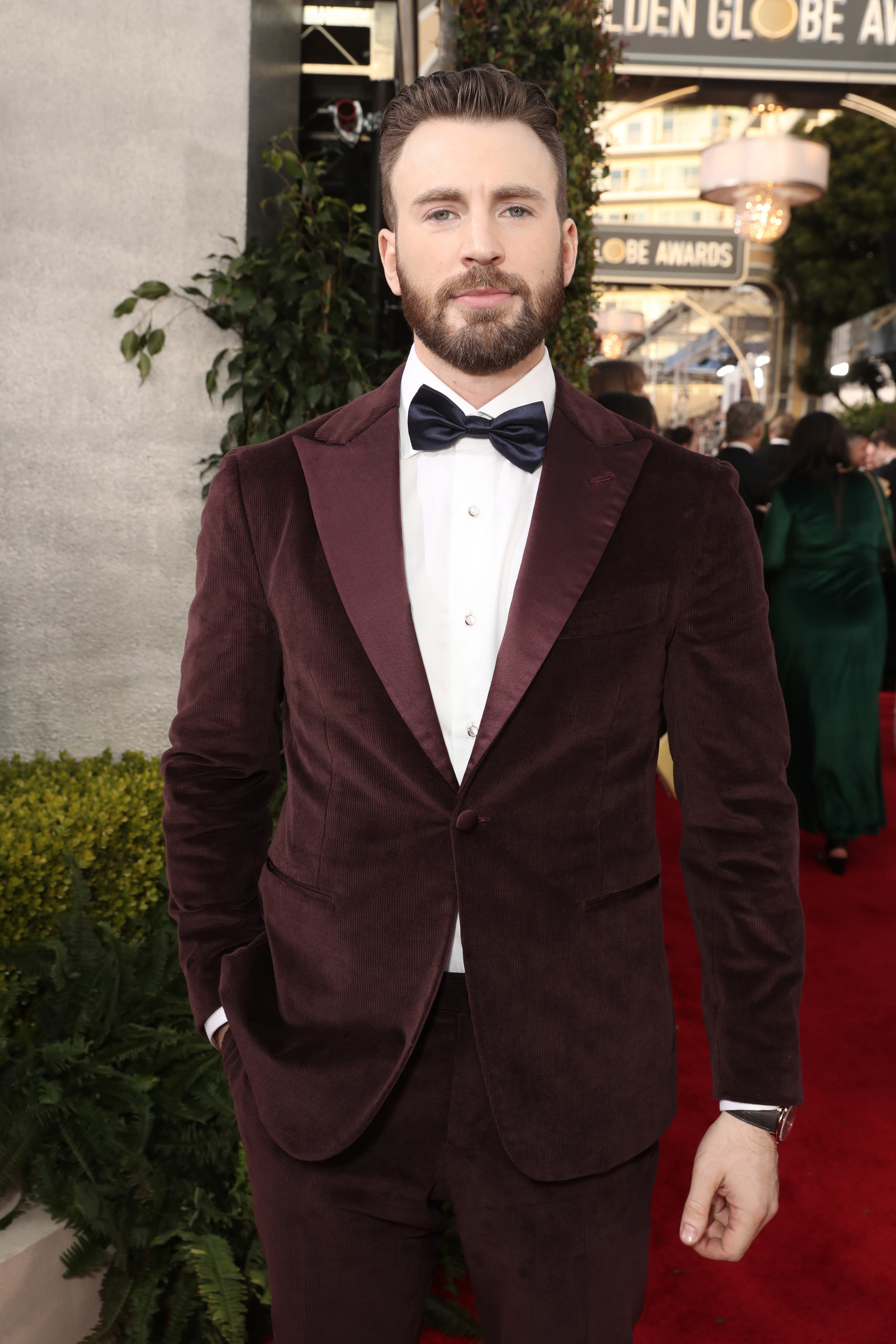 Evans at the Golden Globes in 2020