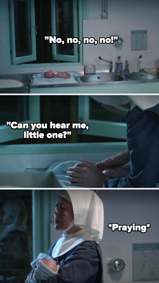 Sister Julienne encontra o bebê morto e o pega no colo