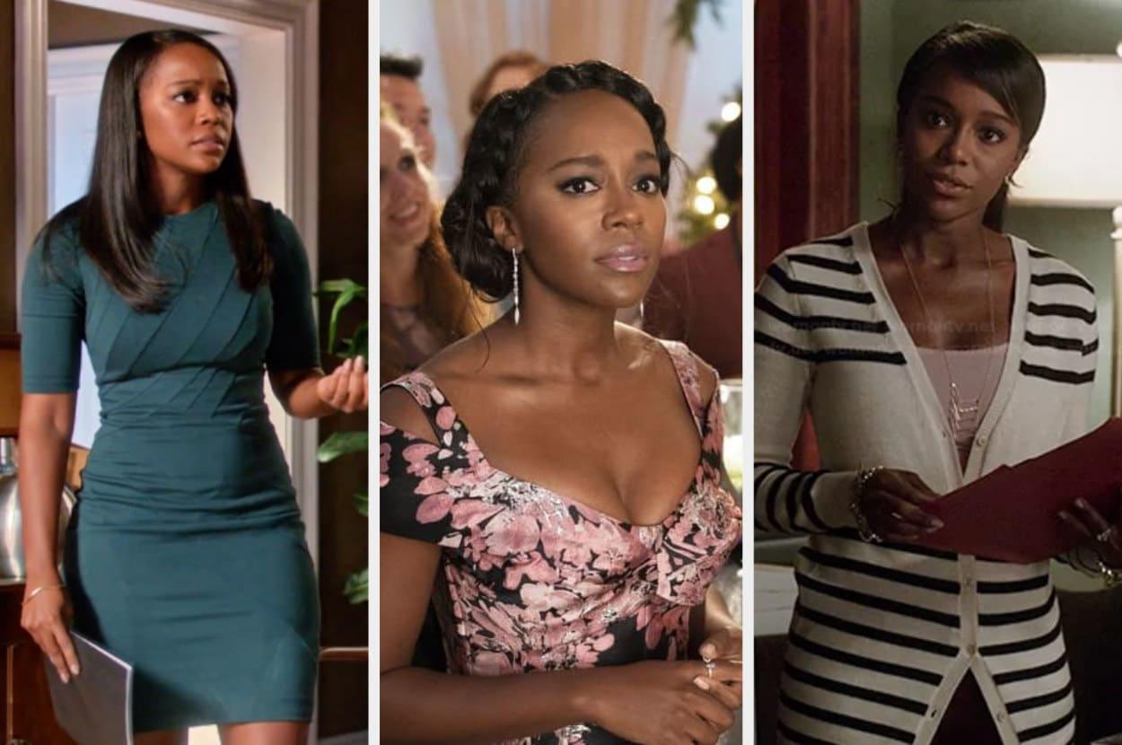 Um montagem com três imagens de uma mulher negra. Na primeira ela usa um vestido verde escuro, na segunda ela usa um vestido florido e decotado, na terceira ela usa um  cardigan listrado.