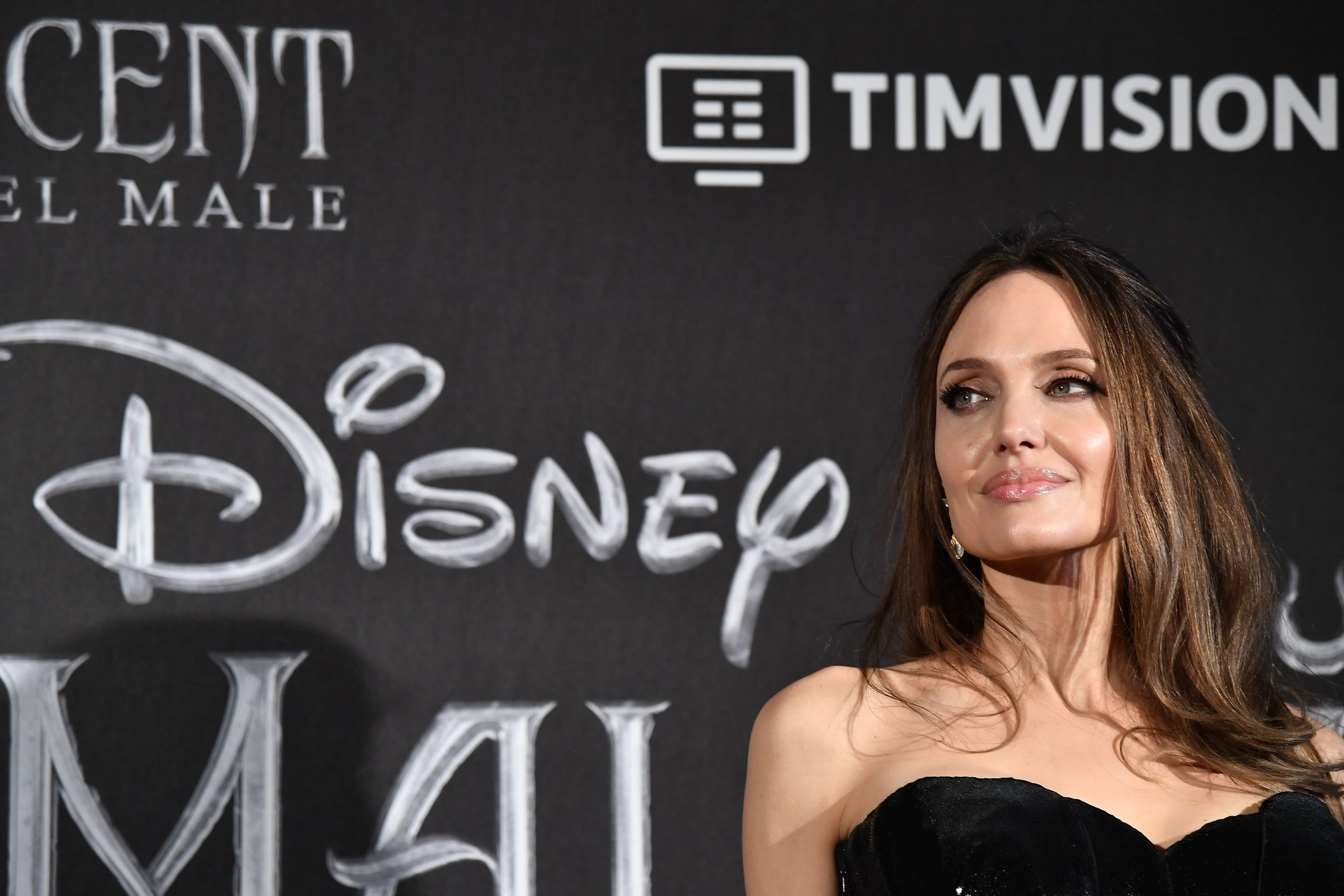 """US actress Angelina Jolie poses during the European premiere of Disney's dark fantasy adventure film """"Maleficent: Mistress of Evil"""" on October 7, 2019, in Rome"""