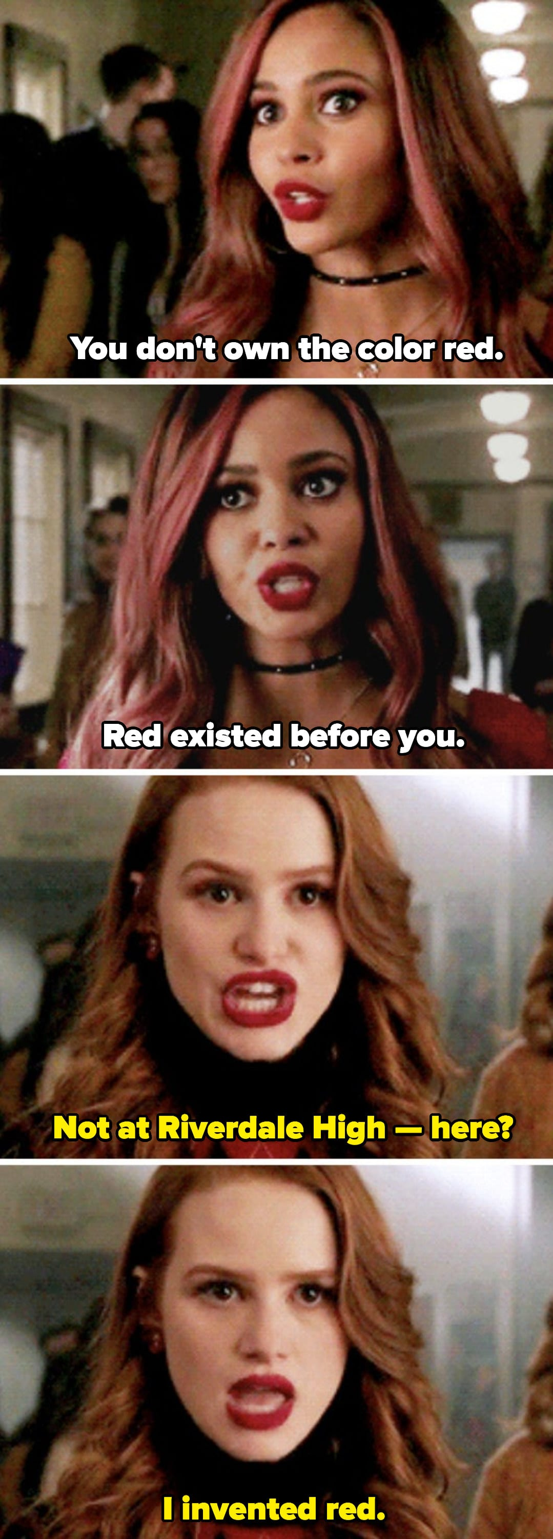 Toni and Cheryl arguing in the school hallway who invented the color red