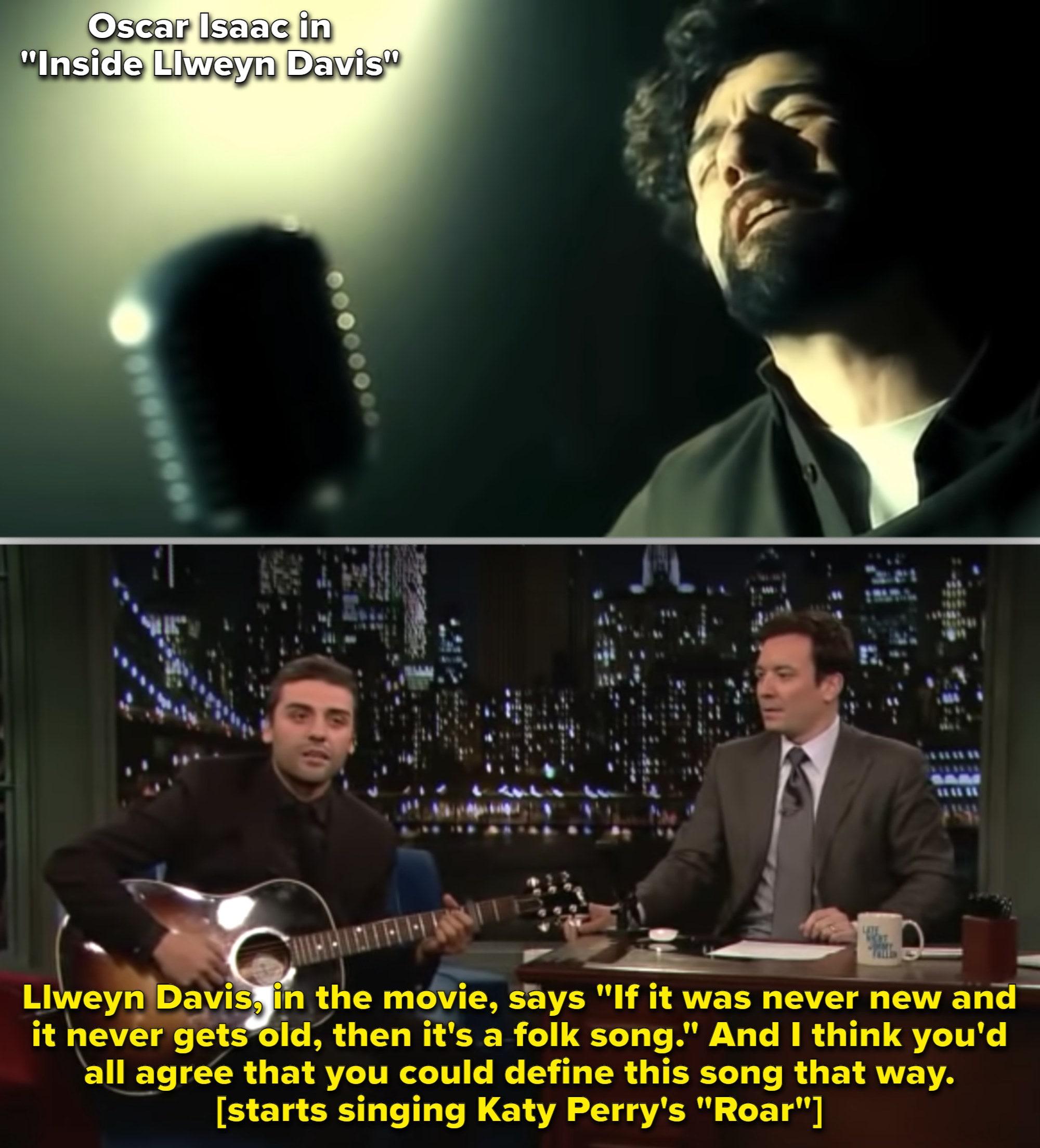 "Oscar Isaac singing on ""The Tonight Show"""