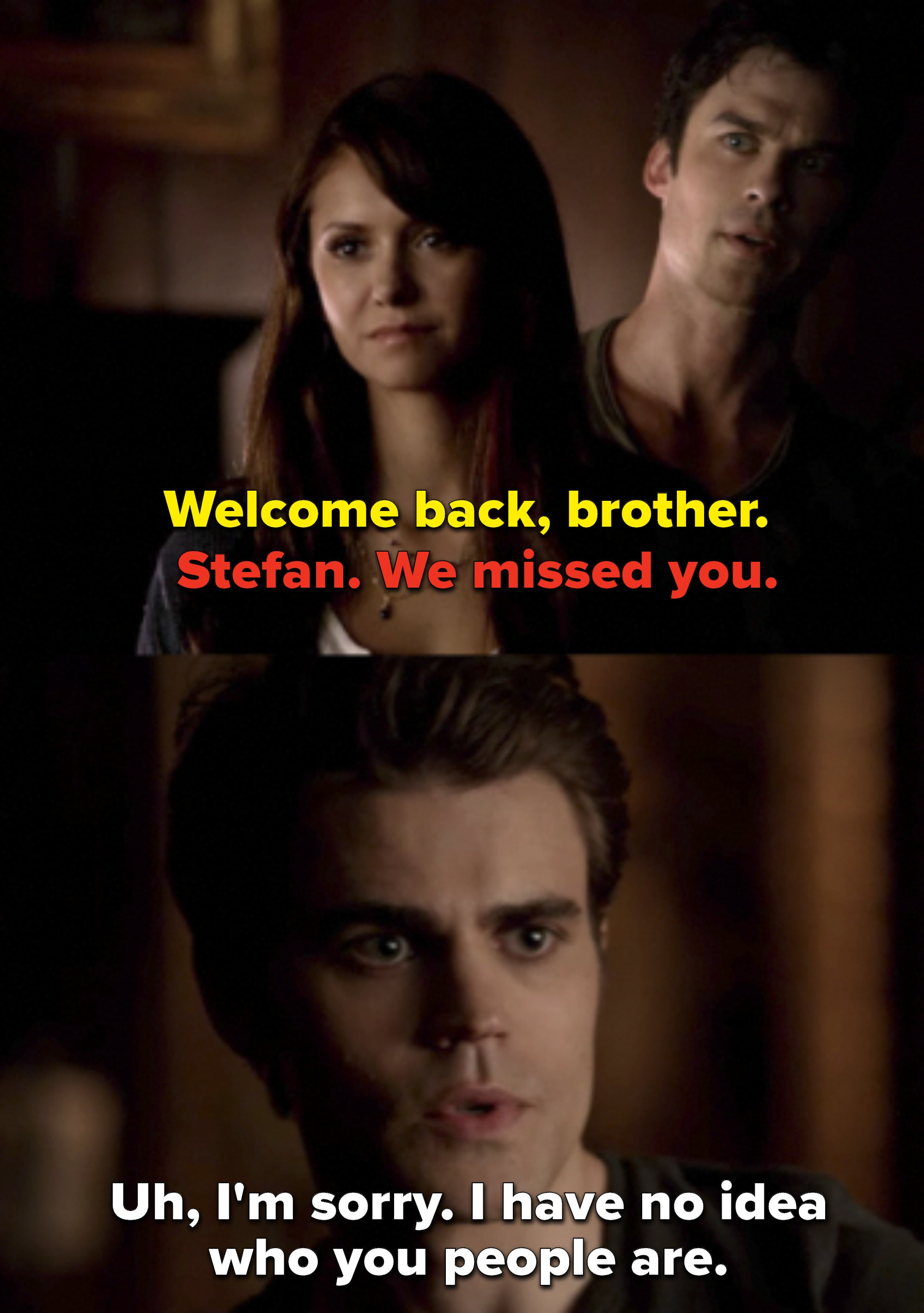 """Damon says """"Welcome back, brother"""" and Elena says """"Stefan, we missed you,"""" and Stefan replies he has no idea who they are"""