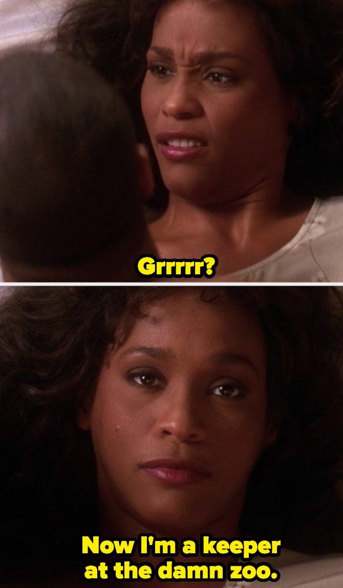 """Whitney Houston em """"Waiting to Exhale"""" no meio de um sexo ruim: """"- Grrr? Agora eu trabalho em um zoológico?"""""""