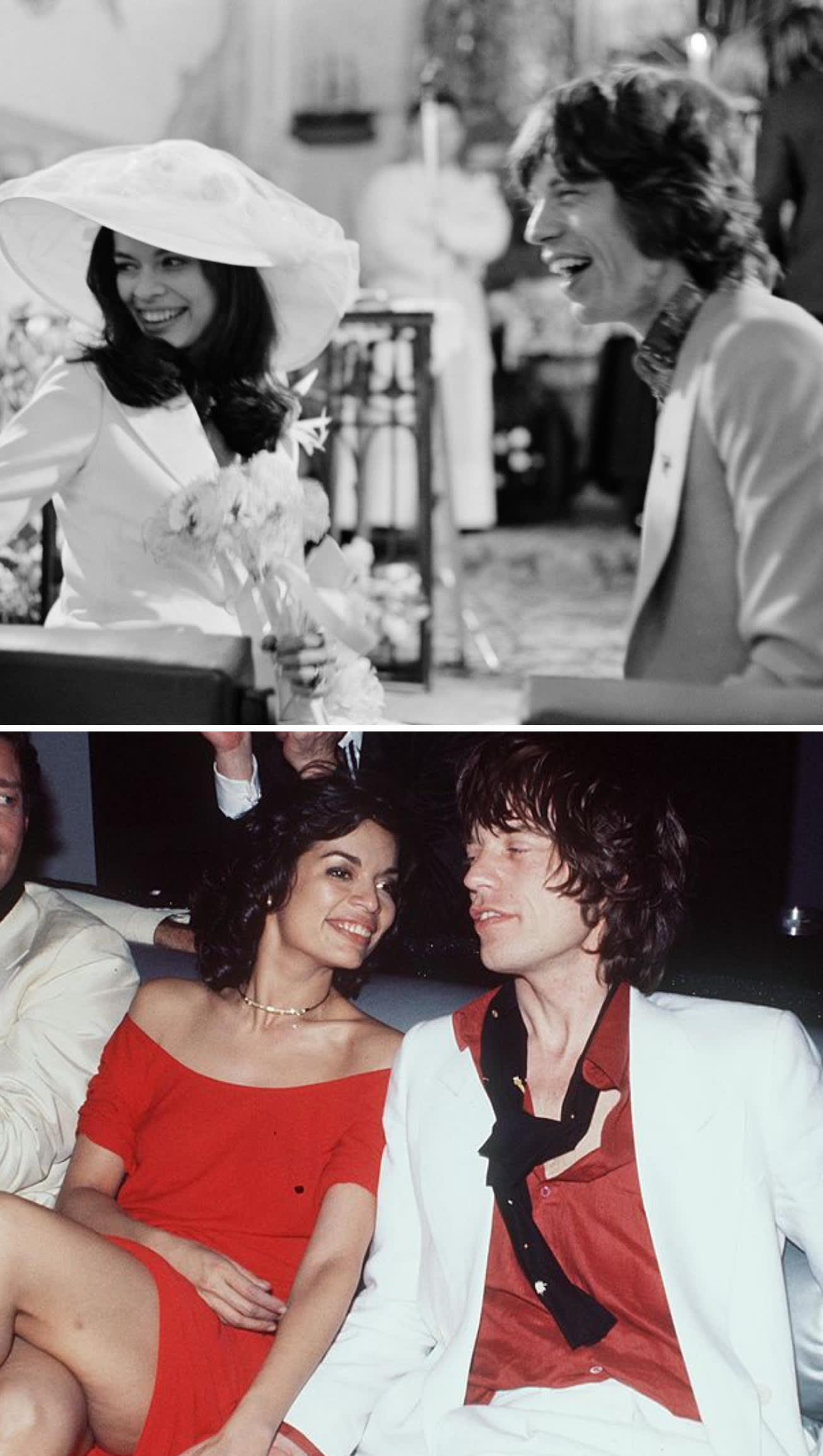 Mick and Bianca getting married in 1971; Mick and Bianca at Studio 54 in 1977