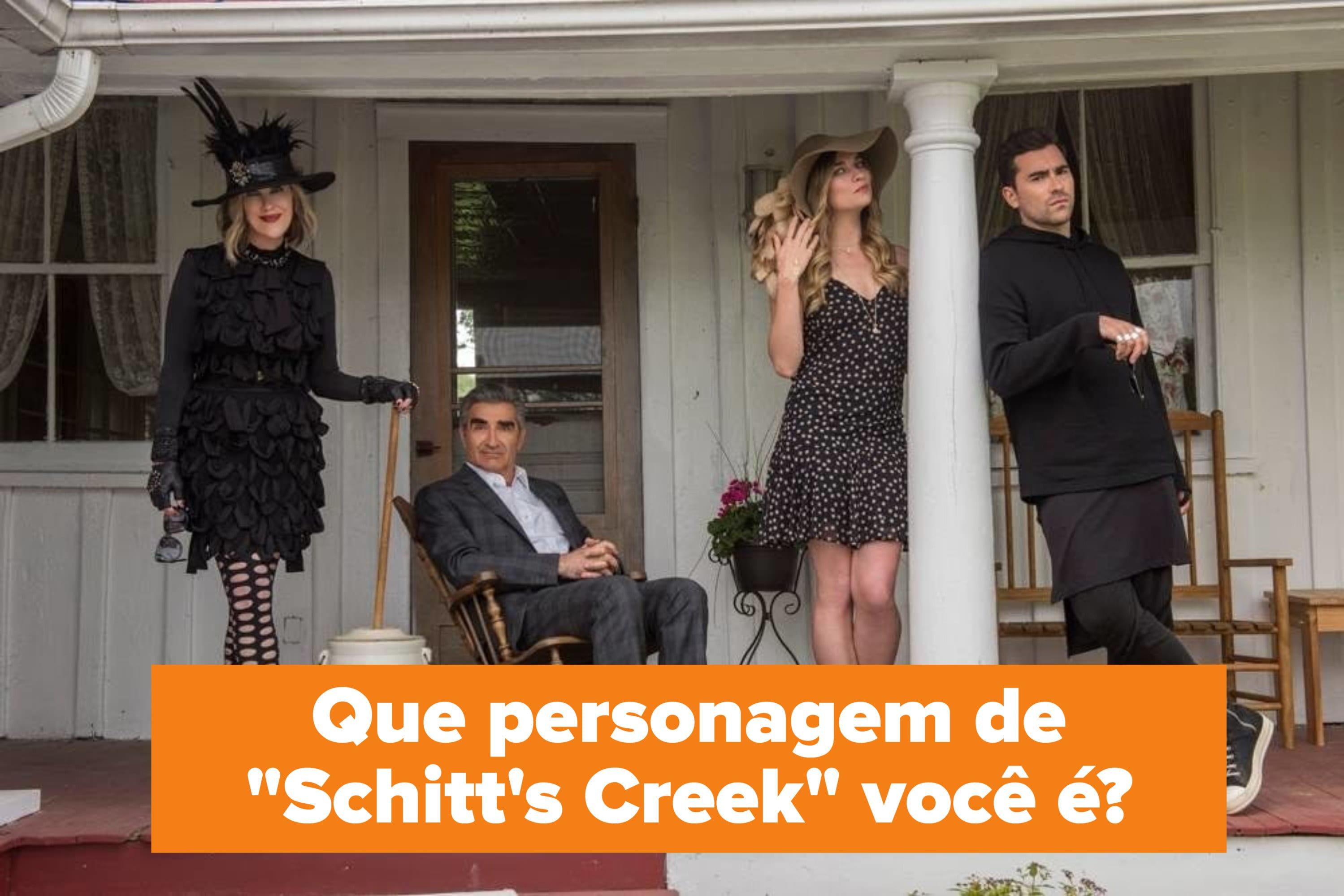 """Foto dos personagens de """"Schitt's Creek"""" e a pergunta: """"Que personagem de 'Schitt's Creek' você é?"""""""