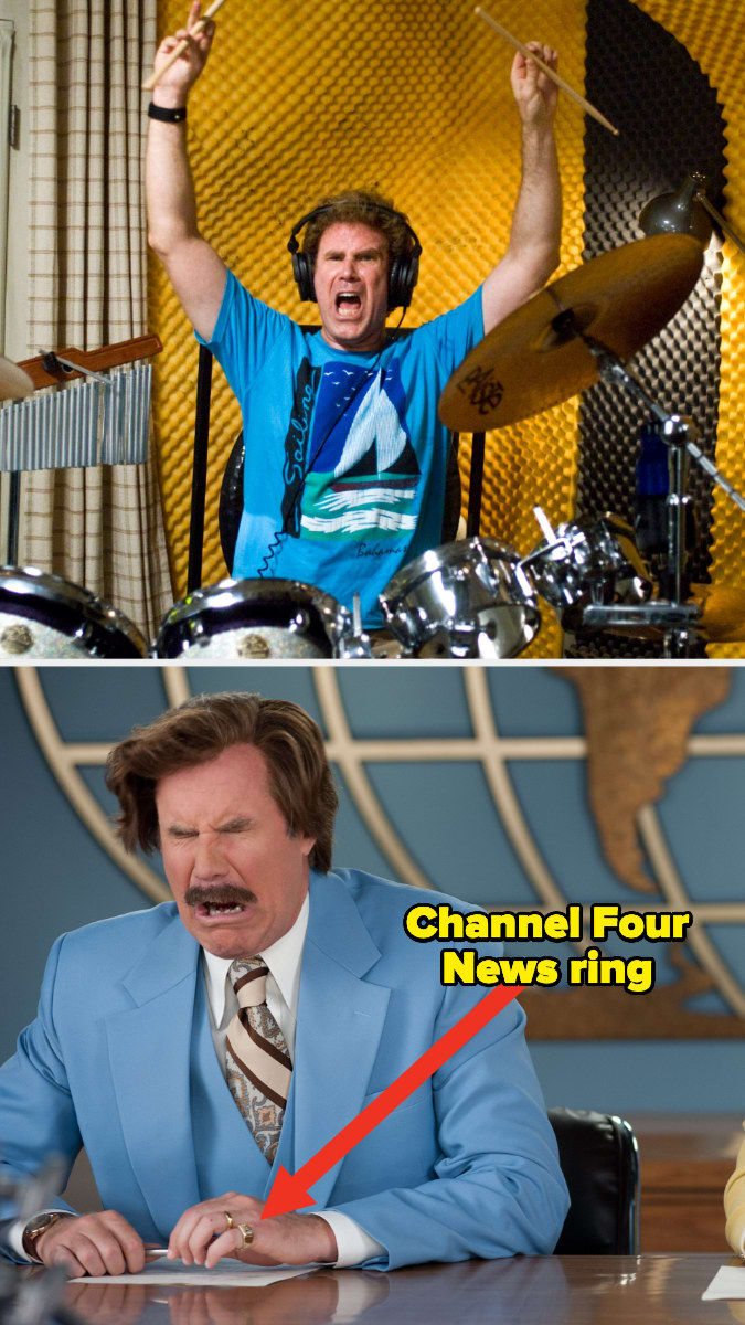 """Will Ferrell playing the drums in """"Step Brothers"""" and wearing the Channel Four News ring in """"Anchorman"""""""
