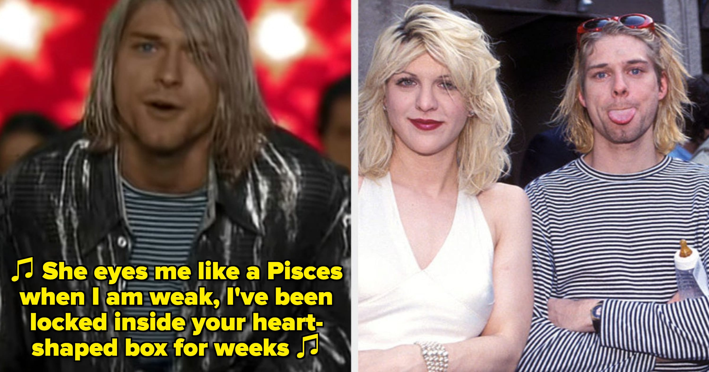 """Kurt Cobain in Nirvana's """"Heart-Shaped Box"""" music video; Courtney Love and Kurt Cobain at the MTV Awards in the early '90s"""