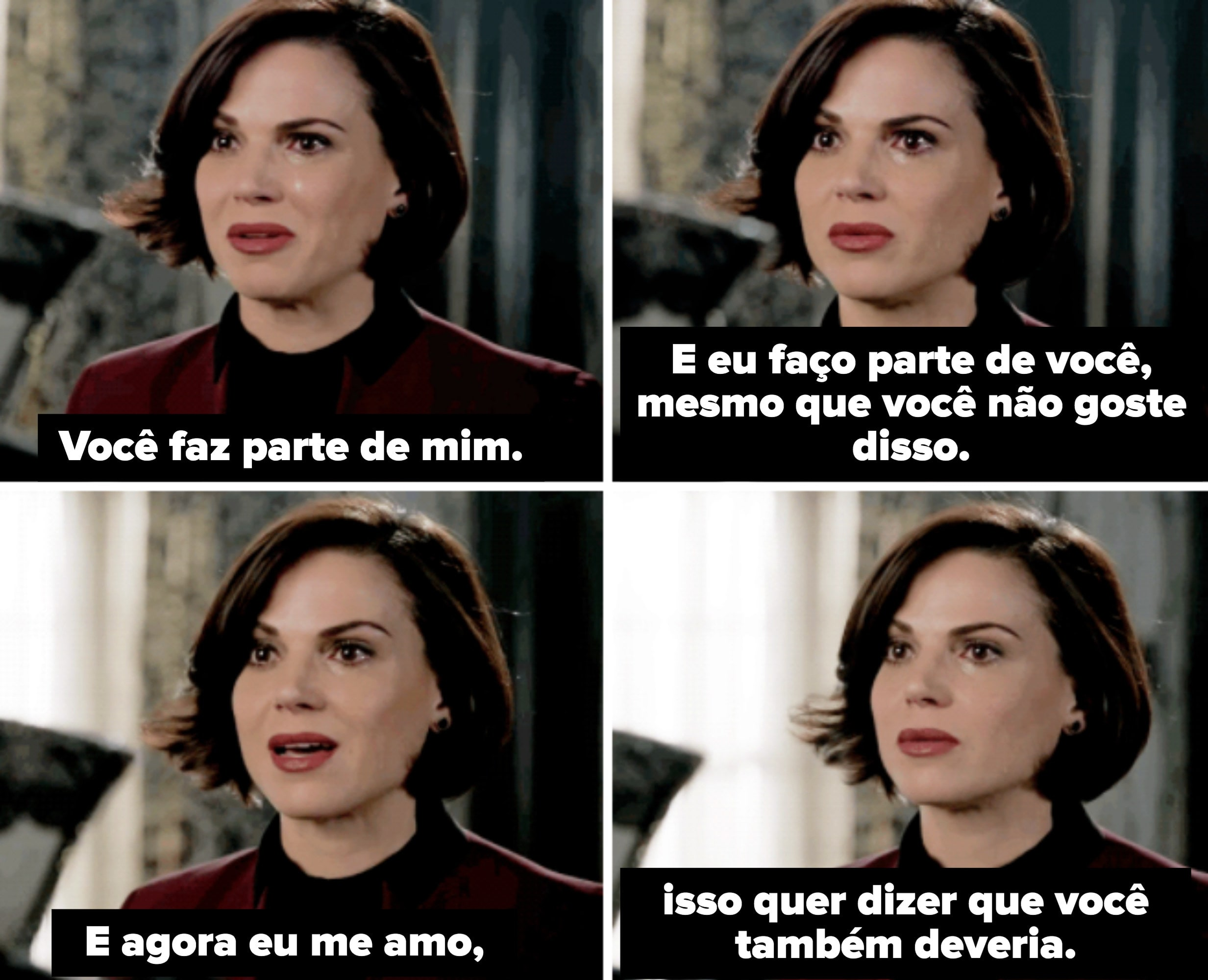 Regina falando para si mesma o quanto ela se ama.