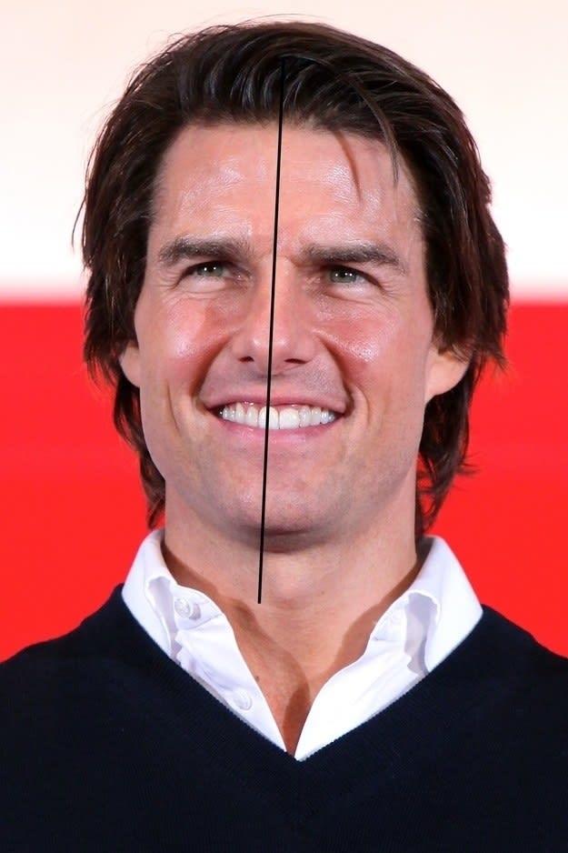 Tom Cruise com uma linha no meio do rosto pra mostrar que não é simétrico