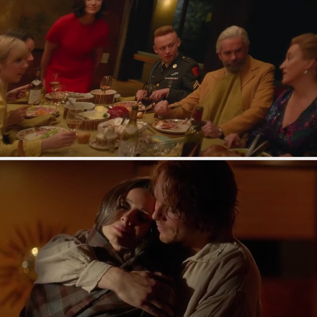 Claire eating dinner with her family in the '60s and Jamie holding her