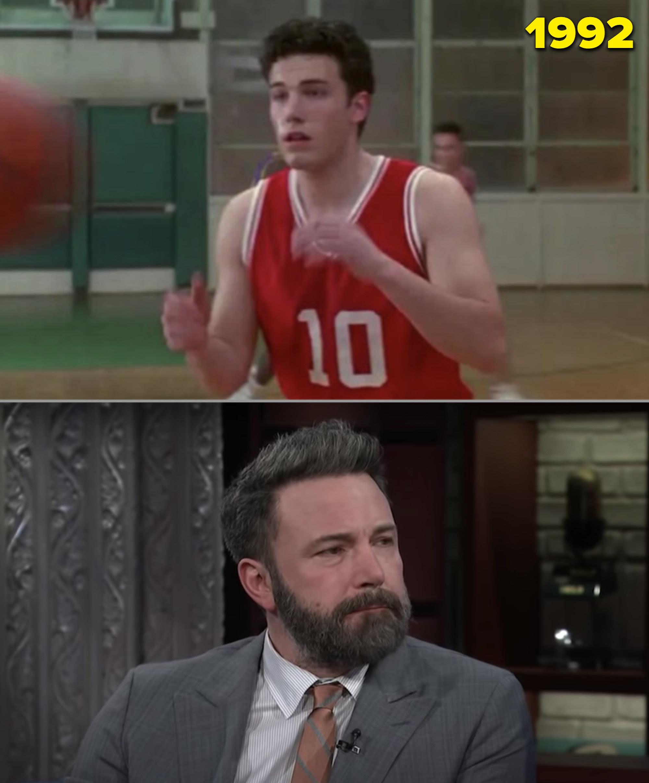 """Ben in jogando basquete de uniforme vermelho em """"Buffy"""" e sendo entrevistado"""