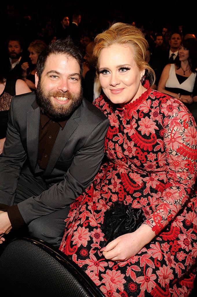 Adele (R) and Simon Konecki attend the 55th Annual Grammy Awards
