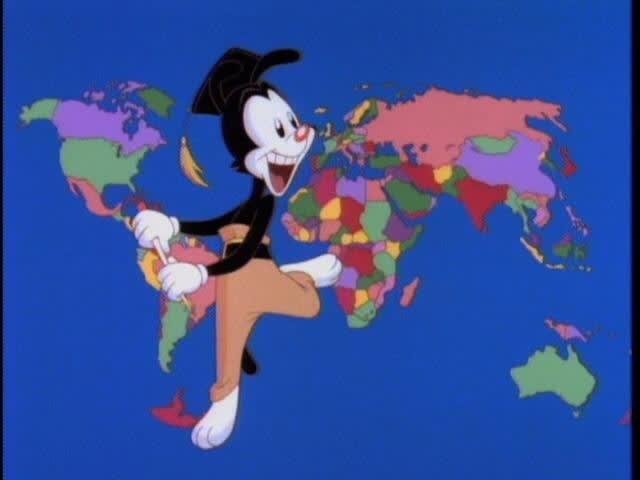 """captura de parte do vídeo do vídeo do mundo do """"Animaniacs"""""""