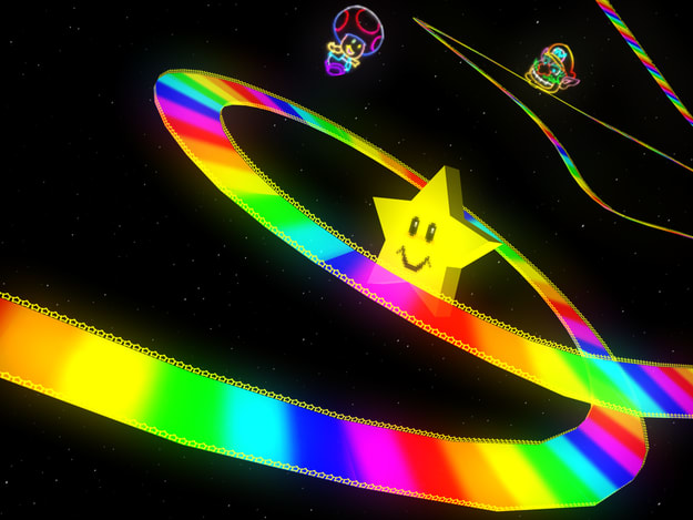 Screen shot of Rainbow Road from Mario Kart