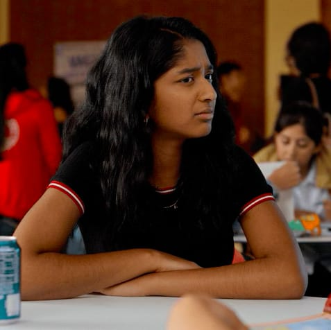 """Devi from """"Never Have I Ever"""" looking disgusted"""