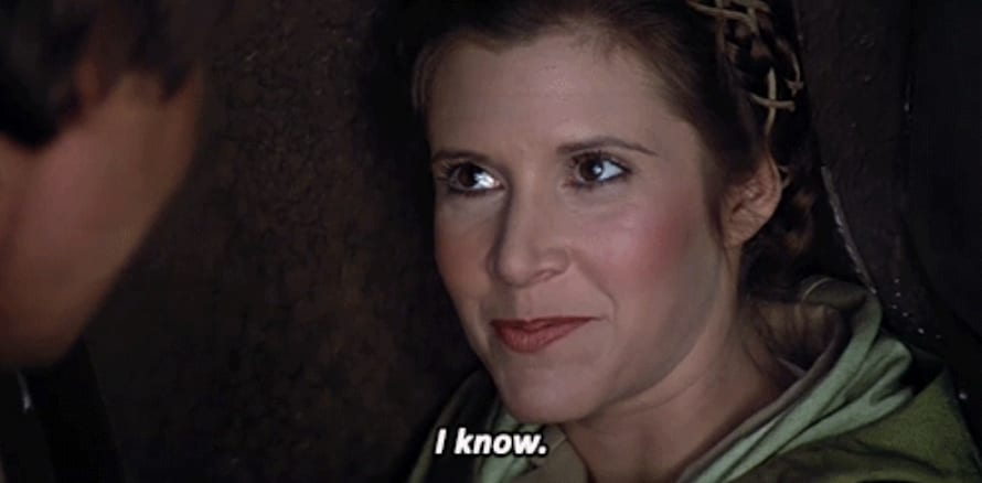 """Princesa Leia respondendo o """"Eu te amo"""" de Han Solo com """"Eu sei"""""""