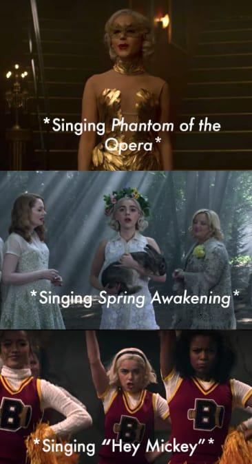 "Sabrina singing Phantom of the Opera and Spring Awakening, then with her cheerleading squad ""Hey Mickey"""