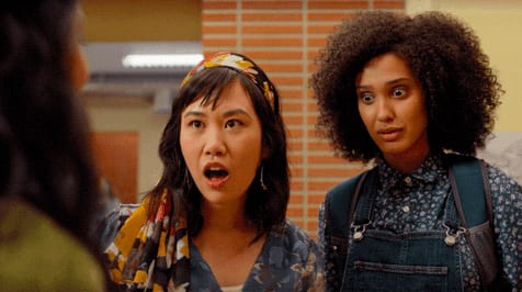 """Eleanor and Fabiola from """"Never Have I Ever"""" looking shocked"""