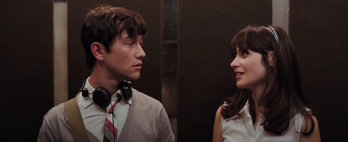 "Tom and Summer from ""500 Days of Summer"" standing in an elevator"