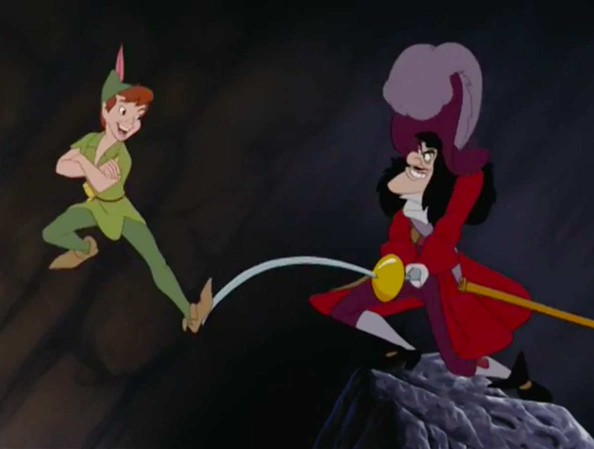 """Peter Pan flying away from Caption Hook and his sword in """"Peter Pan"""""""