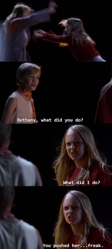 """Young CeCe to Bethany: """"Bethany, what did you do?"""" Bethany: """"What did I do? You pushed her...freak"""""""