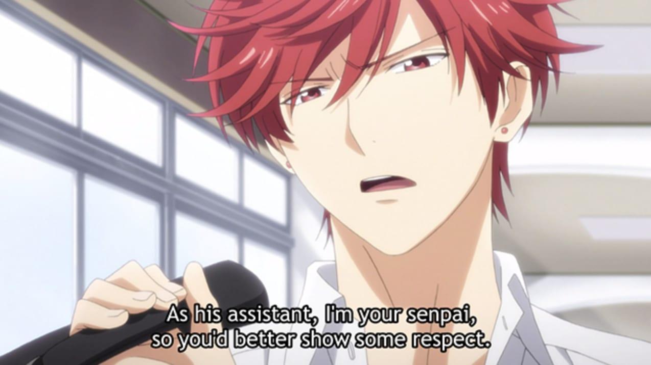 """personagem de anime com cabelo vermelho dizendo: """"Sou assistente dele, então sou seu senpai, então me respeite."""""""