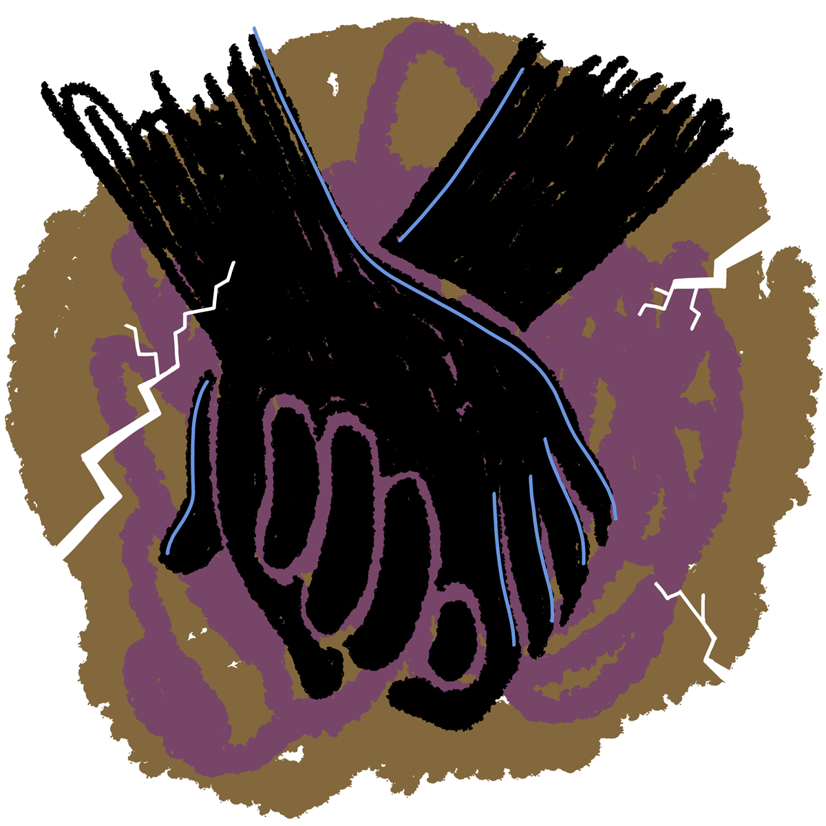 Cave painting of two silhouetted hands holding one another