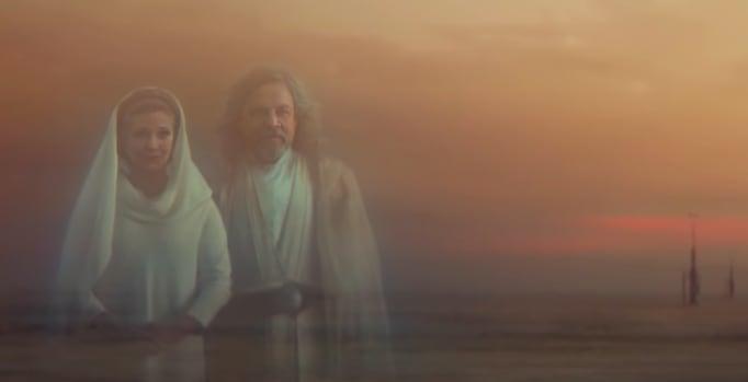 Imagem do filme onde Princesa Leia e Luke Skywalker aparecem como se fossem fantasmas.