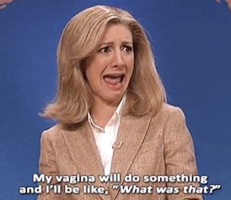"""Nasim Pedrad no SNL falando: """"Minha vagina faz coisas, e eu fico: 'O que foi isso?'"""""""