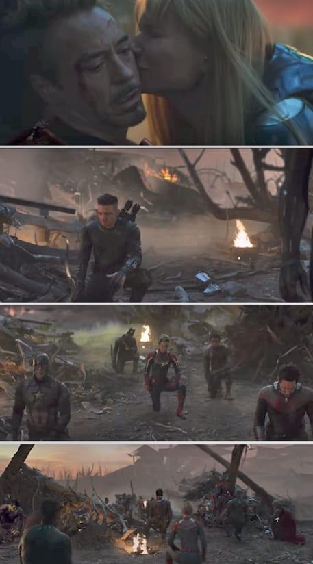 The Avengers kneeling by Tony's dead body