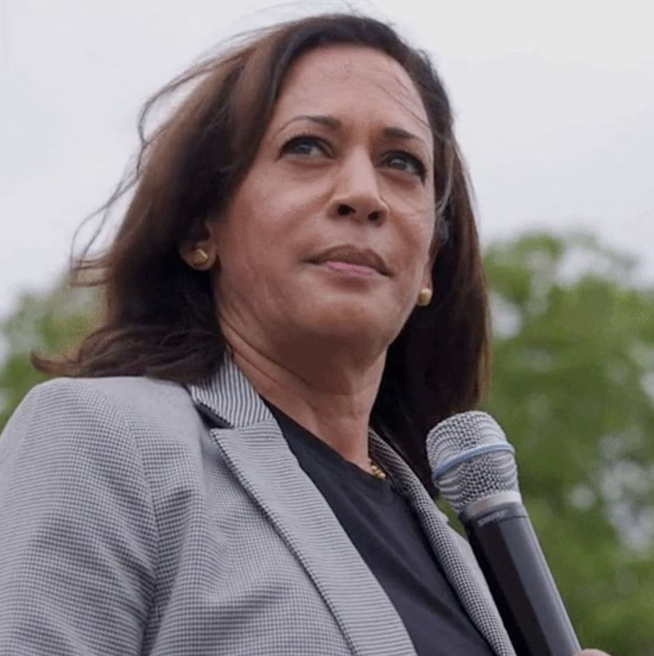 Kamala Harris making a speech at a rally during her campaign for president of the United States