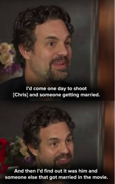 Mark says that Chris Evans filmed a wedding scene