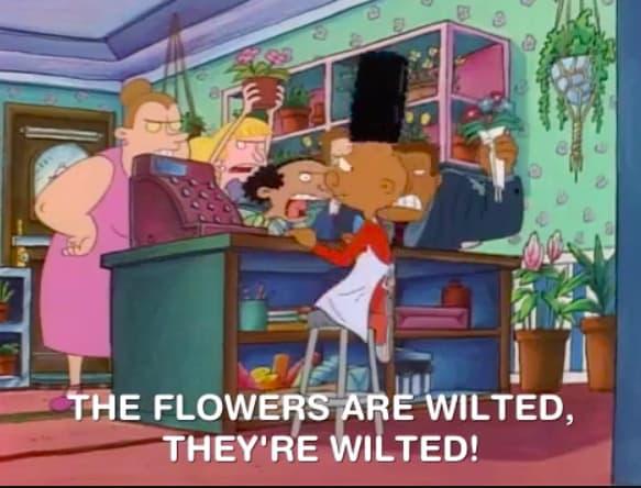 cena do desenho animado arnold em que todo mundo tá reclamando das flores
