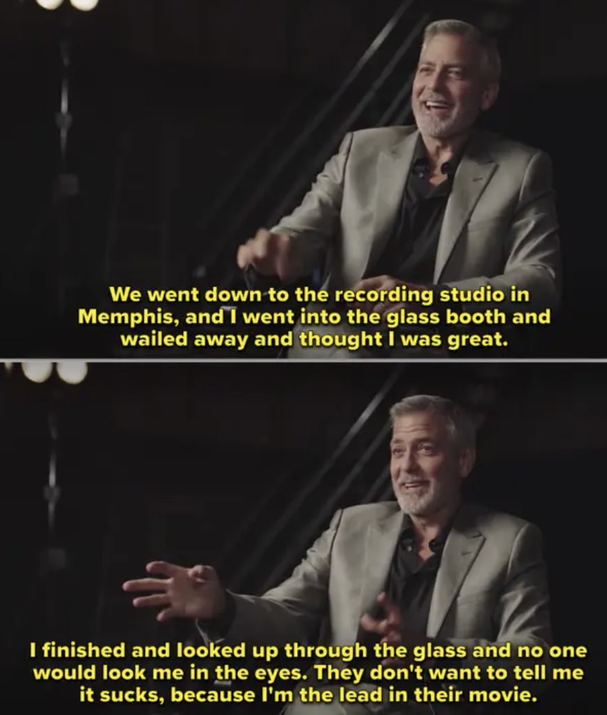 Clooney being interviewed about the movie