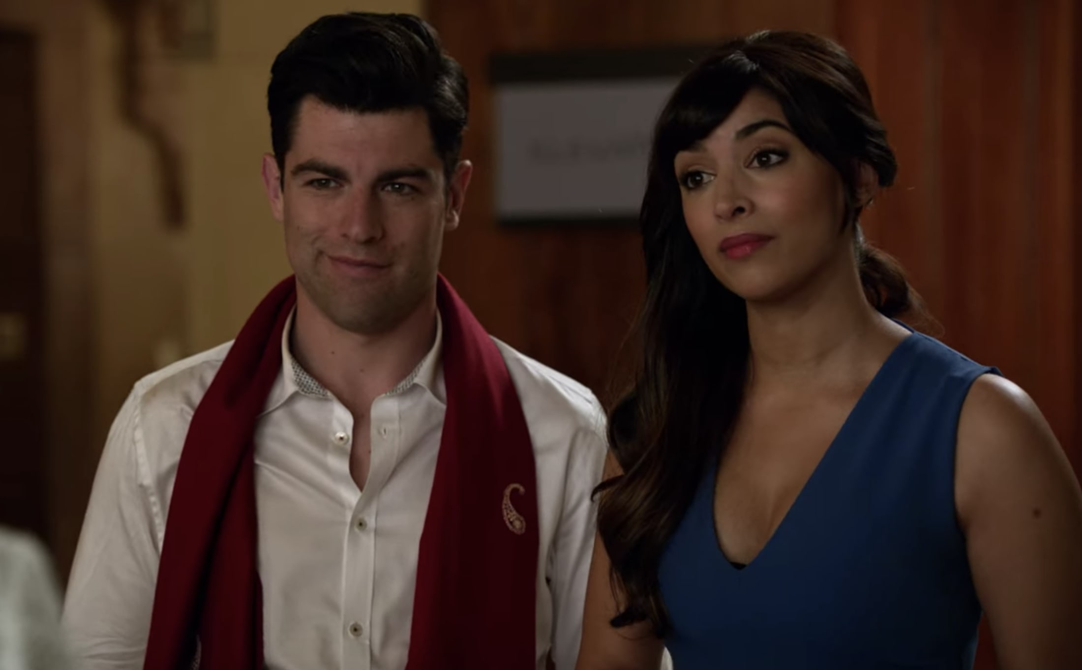 Schmidt and Cece at their engagement party