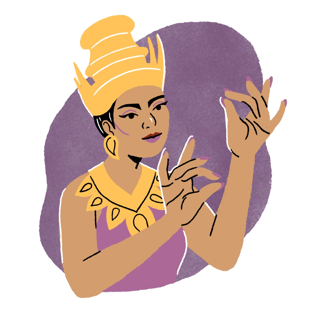 Thai person in a traditional headdress gesturing with their hands