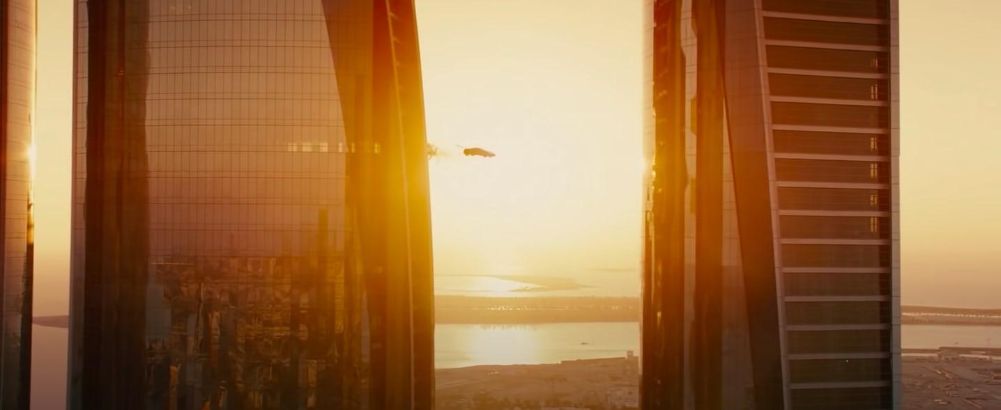 "A car flying between buildings in ""Furious 7"""