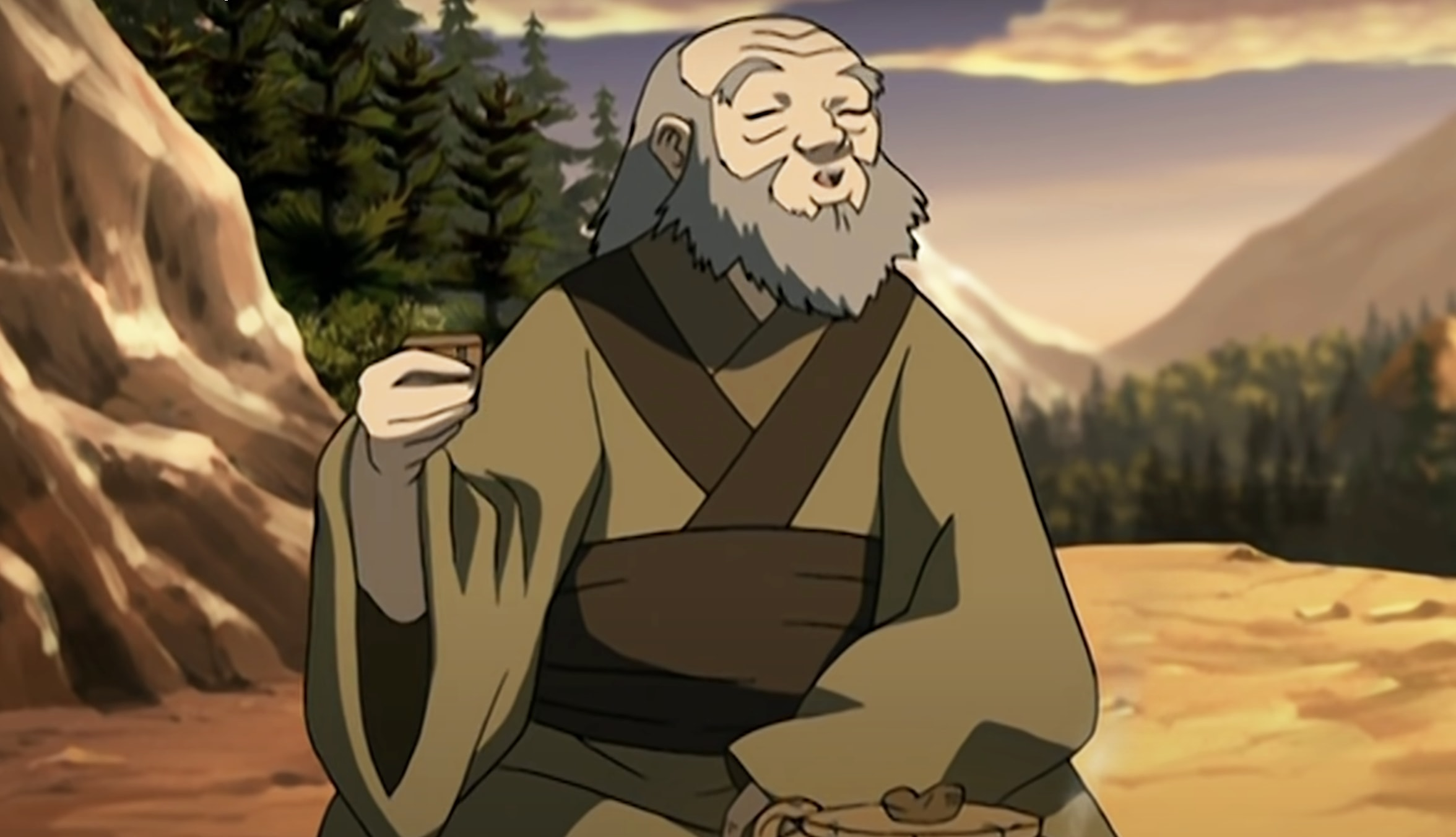 Uncle Iroh enjoying a cup of tea with Toph a mountainside