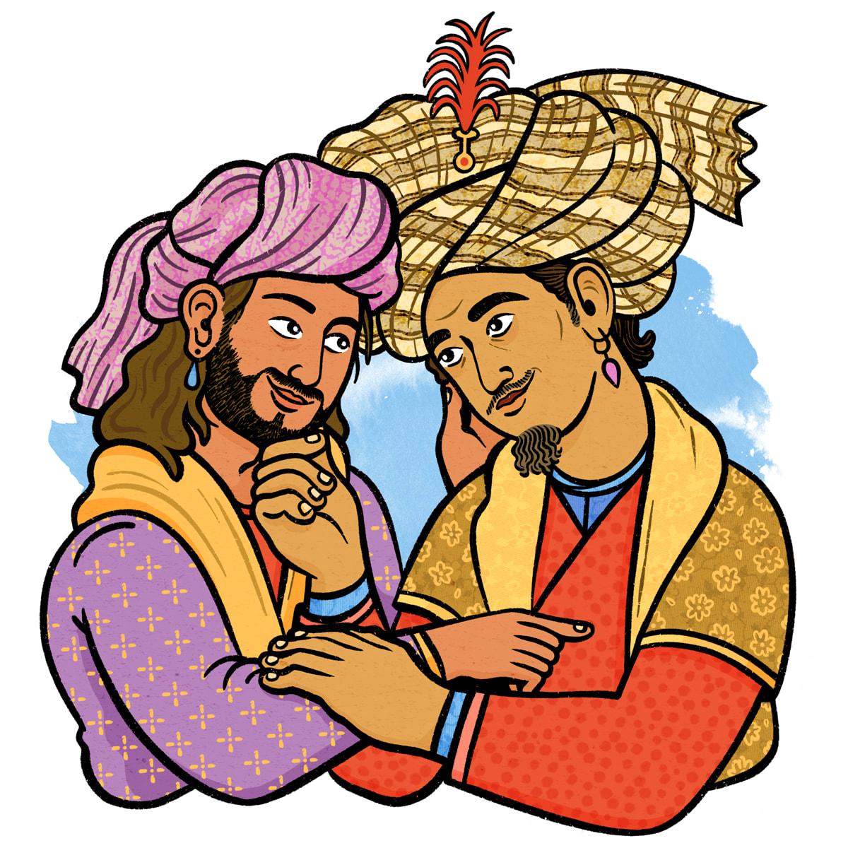 Two persian men embracing, wearing historic fashion