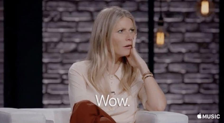 """Gwyneth Paltrow com a mão no rosto, dizendo """"Uau"""""""