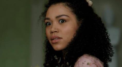 "Marina Thompson from ""Bridgerton"" looking shocked"